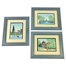 Three 1970s Diana Weber Limited Edition Watercolor Paintings (of Chicago's Sears Tower & Lincoln Park), With Line Drawn Pen and Ink Details