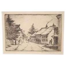 Vintage Original Signed Bertha Jaques Etching, of People Walking on an Unpaved Narrow European Street