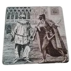 Vintage Original Signed Two-Toned Etching of Commedia Dell'Arte Theater, Black and Reddish-Brown (Pantalone) & Black and White (Pulcinella)