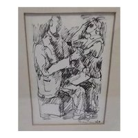 Original 1960 Black and White Drawing by Connecticut Artist Gerard Doudera, entitled The Poet and His Muse