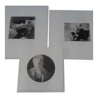 Three 1970s Caroline Cutrona Signed Original Limited Edition Aquatint Etchings, Showing Three Different Generations of Scholars