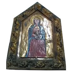 Early-20th Century or Mid-20th Century Modern Hand-Painted Heavy Ceramic Plaque of the Madonna and Child, in Ornate Hand-Made Wooden Frame