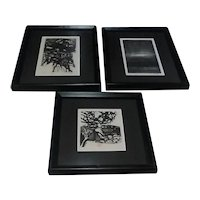 """Three Original 1965 Ronald Penkoff Abstract Woodcuts (Two Signed), From """"Satyr"""" Series"""
