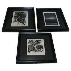 "Three Original 1965 Ronald Penkoff Abstract Woodcuts (Two Signed), From ""Satyr"" Series"