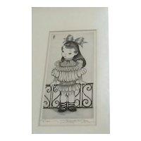 """Vintage Original Signed Etching Entitled """"Nicki"""", by Chicago Artist Margaret Ann Gaug"""
