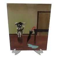 Hard-to-Find Vintage Foster Handford (of Arkansas) Signed Small Painting, of Dog Eyeing Water Puddle