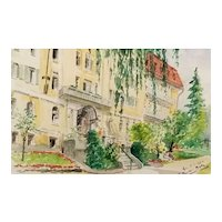Vintage 1962 Frank V Chacka Original Signed Watercolor Painting, of Stately Building and Garden
