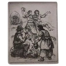 """Signed Original Eugene Higgins Etching Entitled """"Gypsies"""", From Limited Edition Issued by Miniature Print Society Circa 1949"""