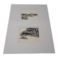 Two Signed Original and Limited Edition Etchings of Boat and Boatyard, by Gene Roberds