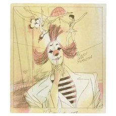 Vintage Karel Benes Signed Ex-Libris Bookplate, Original Colored Lithograph From 1990 Limited Edition, Circus Themed