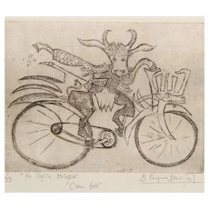 """Signed Original Bruno Pasquier-Desvignes 1991 Ltd Ed Bicycle Etching (Surrealism), From """"In Cyclo Melodia"""" Series & Entitled """"Cow Bell"""""""