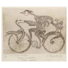 """Signed Original Bruno Pasquier-Desvignes Bicycle Etching, From """"In Cyclo Melodia"""" Series & Entitled """"Birds of a Feather Gather Togather"""""""