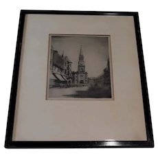 Vintage Walter Tower Signed Original Etching of High Street in Falkirk, Scotland (in Early 20th Century)