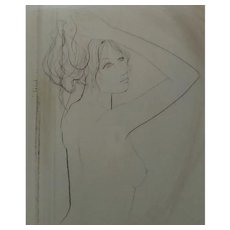 Vintage Original Signed Limited Edition Brown-Ink Etching of Nude Woman Holding Hair Up, From Original Print Collectors Group LTD