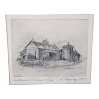 1975 Stephen Pugsley Original Signed Limited Edition Etching of a Michigan Centennial Farm