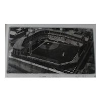 Signed Philip C Thompson Ltd Ed Etching of Sportsman's Park (Home of St Louis Baseball Team), With 1956 Topps St. Louis Cardinals Team Card