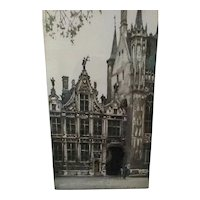 Vintage Original Signed Roger Hebbelinck Hand-Colored Limited Edition Etching of Medieval Square in Bruges (Belgium), With COA