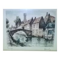 Vintage Original Signed Roger Hebbelinck Hand-Colored Etching of Canal and Bridge in Bruges (Belgium)