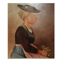 Vintage Signed H. Ullrich Painting, on Artist's Board, of German/Austrian Girl Wearing Traditional Bavarian Attire