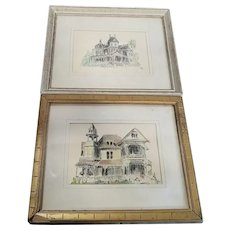 Two Vintage Original Signed Pupi Naron Pen & Ink Drawings (With Watercolor) of Historic Redlands (California) Homes, Morey Mansion and Edwards Mansion