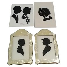 Four Vintage 20th Century Hand-Cut Portrait Silhouettes, Including Barden (With 2 People), Overlapping Couple, & Woman in 2 Poses