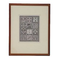 1985 Original Signed Randy Miller Wood Engraving Print, With Images From Medieval Religious Book of Kells
