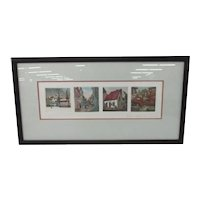 4 Vintage Original Pierre Jobin Limited Edition Aquatint Etchings of Historic Places in Quebec (Canada), Highlighting 4 Seasons of Year