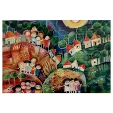 Vintage Original Signed Ruth Zarfati (of Israel) Artist Proof Abstract Lithograph of Children in a Village Scene, Unframed