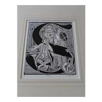 1976 Signed Original Jerry Schultz (of Grand Rapids, Michigan) Limited Edition Woodcut of Musicians, Made for Twilight Concert Series