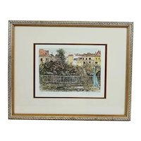 """Vintage Original Signed Marianne L. Almasy (L. Mariae) Limited Edition Colored Etching, Entitled """"The Painter"""""""