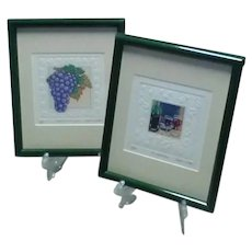 Two Vintage Original Signed Stephan Whittle Limited Edition Wine-Themed Aquatint Etchings, With Embossed Borders Around Etched Images