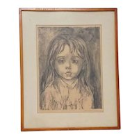 """Mid Century Marion Greenwood Original Signed Lithograph of Child, Entitled  """"Daydream"""", Made for (Published by) Associated American Artists"""