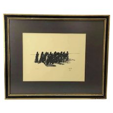 Vintage Original Signed Jacques Ochs Limited Edition Lithograph of 'Moving' Group of People, Jewish/Holocaust Art