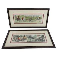 Two Vintage Original Colored Engravings of English Fox Hunt Scenes, Printed From Robert Pollard (of London, England) Plates