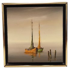 Vintage Evelyn Schmedt (of Texas) Oil Painting of Two Moored Boats