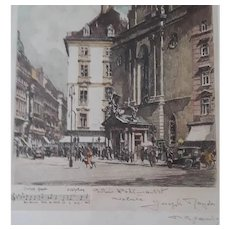 Vintage Herta Czoernig (Austria) Colored Etching of Composer Joseph Haydn Home, W/ Etched Musical Notes, Signed by Artist (& Not by Estate)