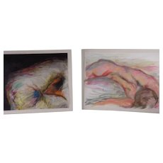 Two Signed Philip Hughes-Luing Pastel Chalk Drawings on Paper, Abstract Expressionism