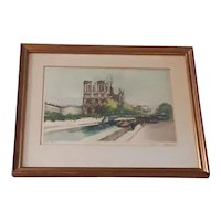 Vintage Original Signed Charles Blondin Limited Edition Lithograph of Notre Dame Cathedral Area (Including of Seine River and Paris Street)
