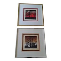 """Two Vintage Robert Ehrlich & Linda Sacco Signed Limited Edition Serigraphs/Silkscreens, Entitled """"Sunset"""" and """"Home"""""""