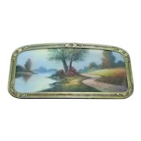 Early 20th Century Albert Glatthaar Signed Pastel Watercolor Landscape Painting, in Bintliff Manufacturing Company Circa 1920s Ornate Frame