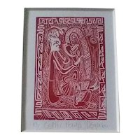 Vintage John Degnan (of England) Original Signed Miniature Limited Edition Wood Engraving Print of Celtic Harp and Harp Player