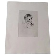 """Original Vintage Etching of Young Boy Holding Puppy, Marked """"Thayer Etching Boston"""""""