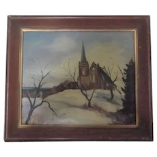 Vintage Oil Painting of Church and Winter Scene, in Mid-Century Frame, Signed by Julie