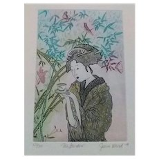 """1979 Joan Ward Signed Limited Edition Colored Etching, Entitled """"Tea Garden"""", With Certificate of Authenticity"""