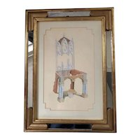 """Circa 1990 Timothy Martin (of Stockton, New Jersey) Original Signed Gouache Painting of Chair, Entitled """"Gothic Folly"""", in Surrealism Style and in Ornate Mirrored Frame"""