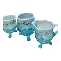 """Antique Model Flint Glass Co/Glass Works (Albany, IN)  Blue Opalescent Creamer, Sugar Dish, and Spooner, in """"Manila/Wreath & Shell"""" Pattern"""