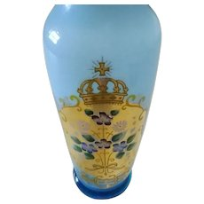 Vintage Blue Bohemian Style Cased Glass Vase, With Hand-Painted Coat of Arms Shape, Enameled Flowers, Lions, and Gold Gilding