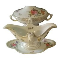 Vintage Circa 1920s Rosenthal Empire Porcelain Covered Serving Bowl and Gravy Boat (With Woman's Face Handles), Made in Selb, Bavaria