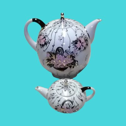 Set of Two Vintage Lomonosov (USSR) Porcelain Hand-Painted and Heavily Gold Gilded Teapots; One Oversized & One Small