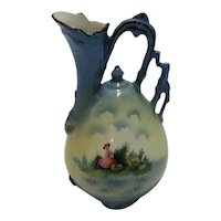 Vintage Pottery/Porcelain Pitcher/Ewer With Pastoral Scene, Made in Czechoslovakia Between 1918 and 1938